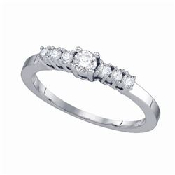 Diamond Round Bridal Wedding Engagement Ring 1/3 Cttw 14kt White Gold