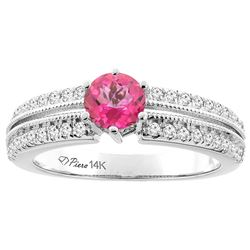 1.30 CTW Pink Topaz & Diamond Ring 14K White Gold - REF-67V3R