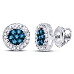 Round Blue Color Enhanced Diamond Cluster Earrings 1/2 Cttw 10kt White Gold