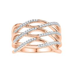 Diamond Crossover Strand Band Ring 1/4 Cttw 10kt Rose Gold