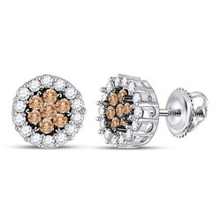 Round Brown Diamond Flower Cluster Screwback Earrings 3/4 Cttw 14kt White Gold