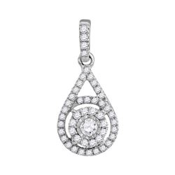 Diamond Solitaire Circle Frame Pendant 1/4 Cttw 10kt White Gold