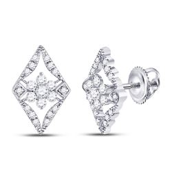 Diamond Geometric Cluster Earrings 3/8 Cttw 14kt White Gold
