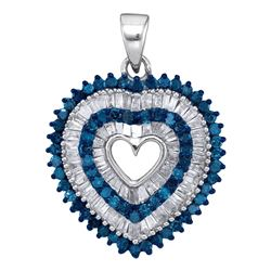 Round Blue Color Enhanced Diamond Heart Outline Pendant 7/8 Cttw 10kt White Gold