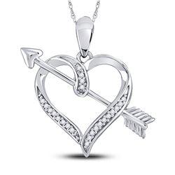 Diamond Heart Arrow Pendant 1/12 Cttw 10kt White Gold