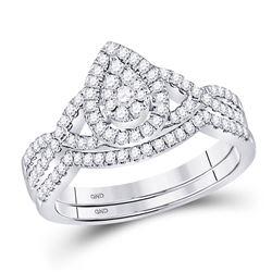 Diamond Teardrop Bridal Wedding Engagement Ring Band Set 1/2 Cttw 10kt White Gold
