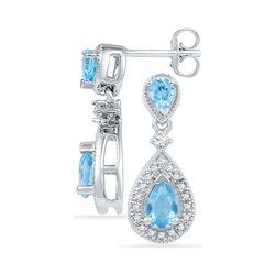 Pear Lab-Created Blue Topaz Dangle Diamond Earrings 1-1/2 Cttw 10kt White Gold