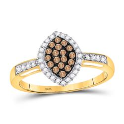 Round Brown Diamond Oval Frame Cluster Ring 1/3 Cttw 10kt Yellow Gold
