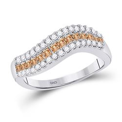 Brown Diamond Curved Band Ring 5/8 Cttw 14kt White Gold