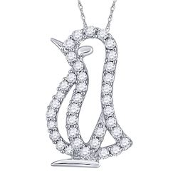 Diamond Penguin Bird Animal Pendant 1/6 Cttw 10kt White Gold