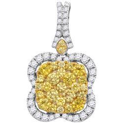 Round Yellow Diamond Quatrefoil Frame Cluster Pendant 1-5/8 Cttw 14kt White Gold