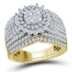 Diamond Cluster Bridal Wedding Engagement Ring Band Set 2.00 Cttw 14kt Yellow Gold