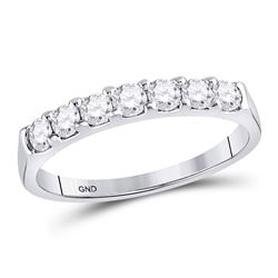 Diamond Single Row Wedding Band 1/2 Cttw 14kt White Gold