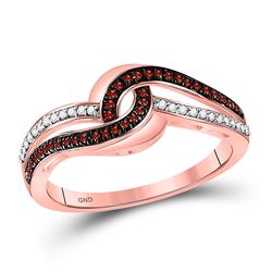 Round Red Color Enhanced Diamond Swirl Band Ring 1/5 Cttw 10kt Rose Gold
