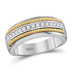 Mens Round Pave-set Diamond Yellow-tone Rope Wedding Band 1/3 Cttw 10kt White Gold
