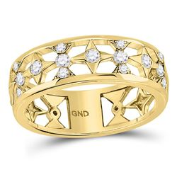 Diamond Studded Star Band Ring 1/3 Cttw 14kt Yellow Gold