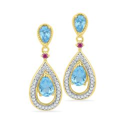 Oval Lab-Created Blue Topaz Diamond Dangle Earrings 1-5/8 Cttw 10kt Yellow Gold