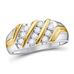 Mens Diamond Wedding Band Ring 1/2 Cttw 10kt Two-tone Gold