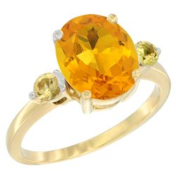 2.64 CTW Citrine & Yellow Sapphire Ring 10K Yellow Gold - REF-24A5X