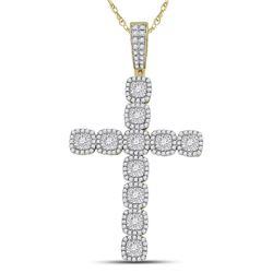 Mens Diamond Roman Cross Charm Pendant 2.00 Cttw 14kt Yellow Gold