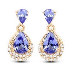 1.12 ctw Tanzanite & Diamond Earrings 14K Yellow Gold - REF-34W6M