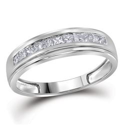 Mens Diamond Single Row Wedding Band Ring 3/4 Cttw 10kt White Gold