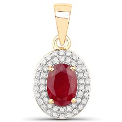 1.08 ctw Ruby & White Diamond Pendant 14K Yellow Gold - REF-38M2R