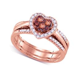 Round Brown Diamond Heart Cluster Bridal Wedding Engagement Ring Band Set 1/2 Cttw 14kt Rose Gold