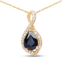 0.89 ctw Sapphire Blue & Diamond Pendant 14K Yellow Gold - REF-34R6K