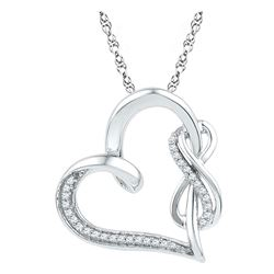 Diamond Heart Infinity Pendant 1/8 Cttw 10kt White Gold