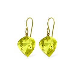 Genuine 21.5 ctw Quartz Lemon Earrings 14KT Yellow Gold - REF-33X7M