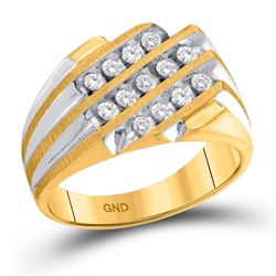 Mens Diamond 3-Row Cluster Ring 1/2 Cttw 10kt Two-tone Yellow Gold