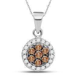 Round Brown Diamond Framed Flower Cluster Pendant 3/8 Cttw 10kt White Gold