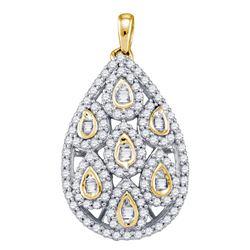 Diamond Teardrop Cluster Pendant 7/8 Cttw 10kt Yellow Gold