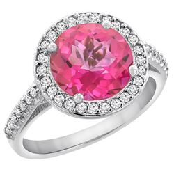 2.44 CTW Pink Topaz & Diamond Ring 14K White Gold - REF-56R2H