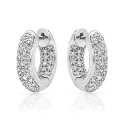 1.01 CTW Diamond Earrings 14K White Gold - REF-87F7N