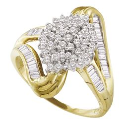 Diamond Cluster Swirl Shank Baguette Ring 1/2 Cttw 10kt Yellow Gold
