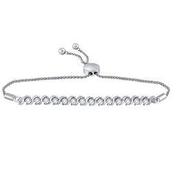 Round Pave-set Diamond Single Row Bolo Bracelet 1/2 Cttw 10kt White Gold