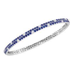 Round Blue Sapphire Diamond Double Row Bangle Bracelet 3-1/3 Cttw 18kt White Gold