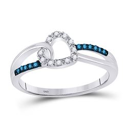 Round Blue Color Enhanced Diamond Captured Heart Ring 1/10 Cttw 10kt White Gold
