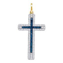 Round Blue Color Enhanced Diamond Roman Cross Pendant 1/4 Cttw 10kt Yellow Gold