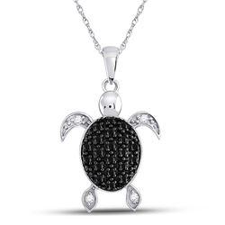 Round Black Color Enhanced Diamond Turtle Tortoise Pendant 1/3 Cttw 10kt White Gold