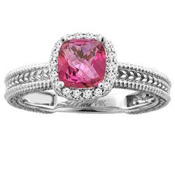 1.60 CTW Pink Topaz & Diamond Ring 14K White Gold - REF-45X3M