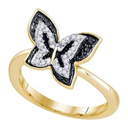 Round Black Color Enhanced Diamond Butterfly Bug Ring 1/3 Cttw 10kt Yellow Gold