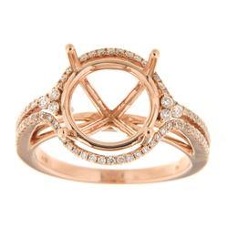 0.44 CTW Diamond Semi Mount Ring 14K Rose Gold - REF-59Y2X