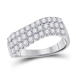 Diamond Contoured Triple Row Band Ring 1.00 Cttw 14kt White Gold