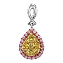 Round Yellow Pink Diamond Teardrop Cluster Pendant 1/2 Cttw 14kt White Gold