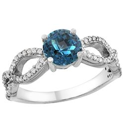 1.25 CTW London Blue Topaz & Diamond Ring 14K White Gold - REF-50V2R