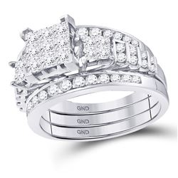Diamond 3-Piece Bridal Wedding Engagement Ring Band Set 1-1/2 Cttw 14kt White Gold