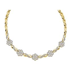 Diamond Infinity Flower Cluster Necklace 2.00 Cttw 14kt Yellow Gold
